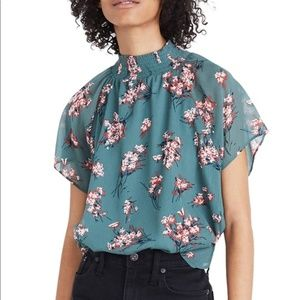 Madewell - Mock-Neck Short-Sleeve Flowered Blouse